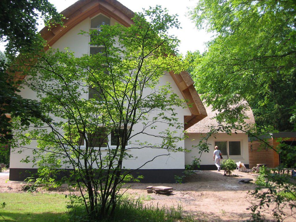 villa met rieten dak, bomen