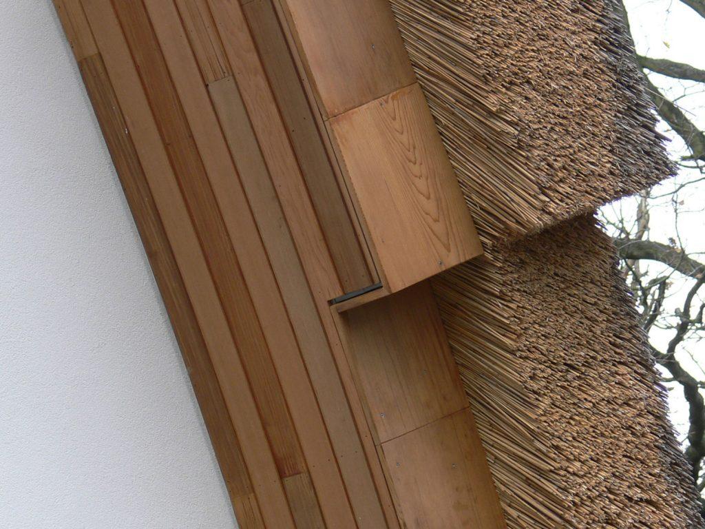 villa met rieten dak, detail dak