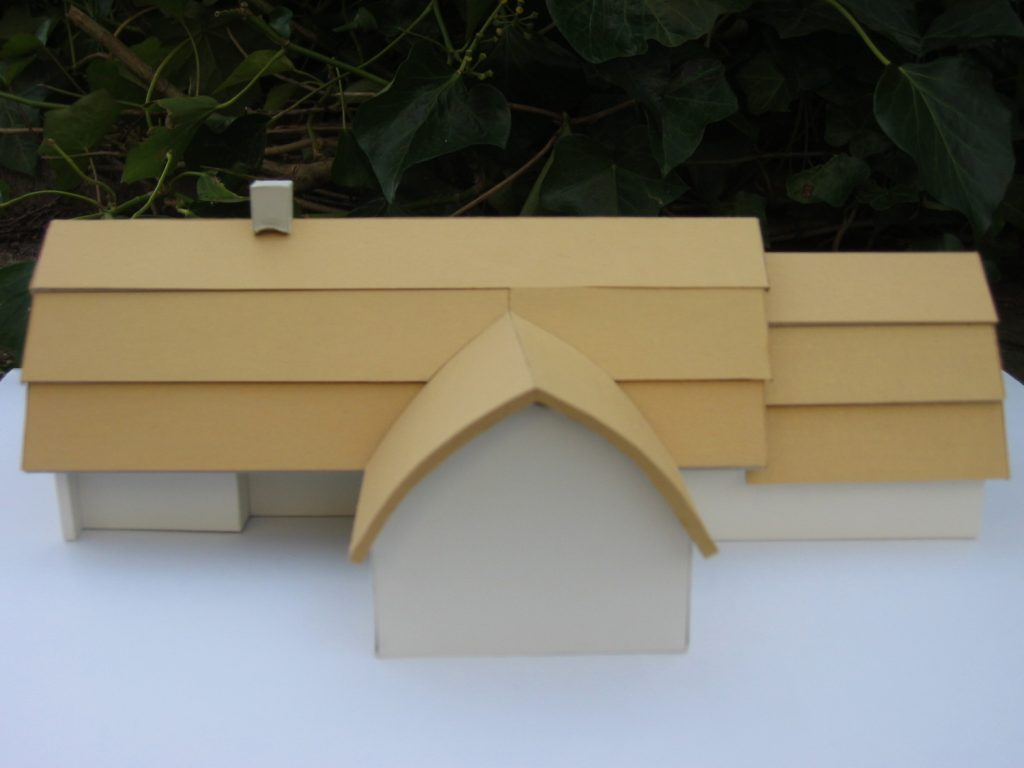 villa met rieten dak, maquette