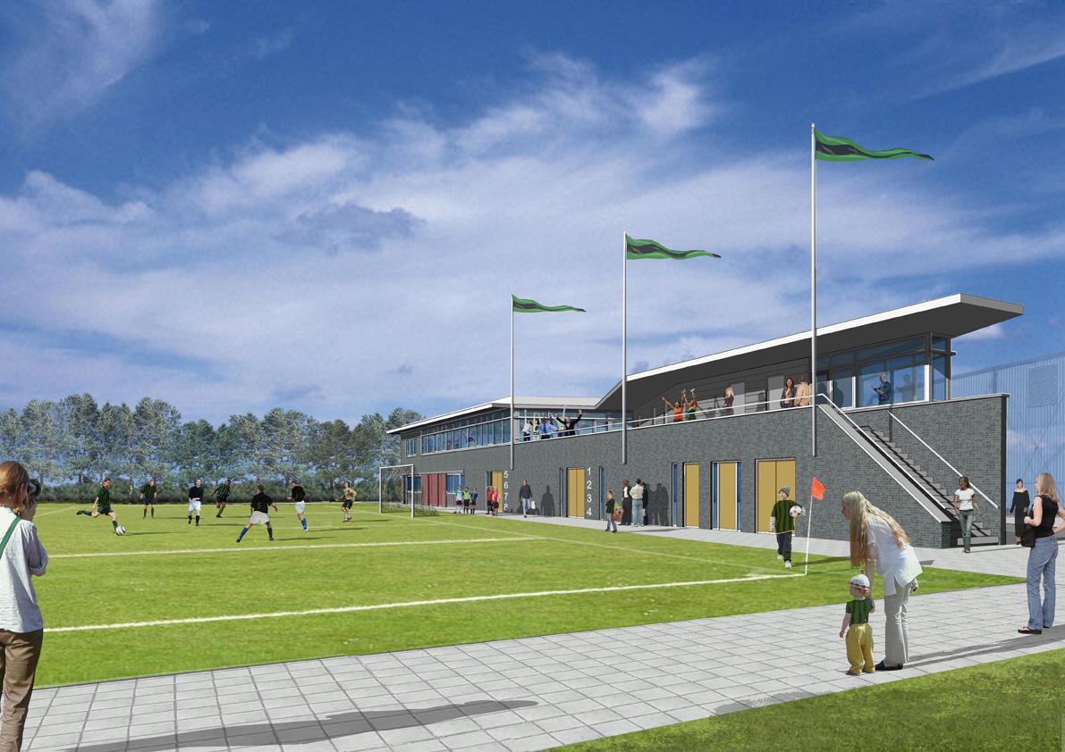 clubgebouw voetbalvereniging, clubhuis, voetbalveld, artist impression